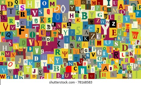 Abstract letters background, graphic illustration