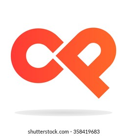 Abstract letters C and P logo template. Vector