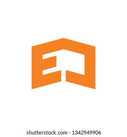 abstract letters ej simple geometric logo vector