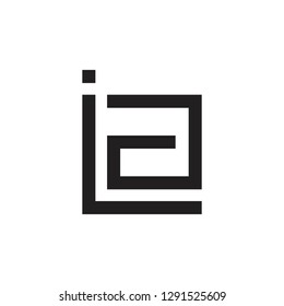 abstract letters ia geometric square logo vector