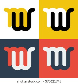Abstract letters M and W logo template. M, W logo. Letters logo. M, W icon. Business logo template. Vector set