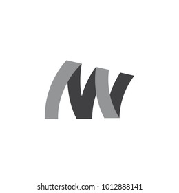 abstract letters mw 3d ribbon logo vector