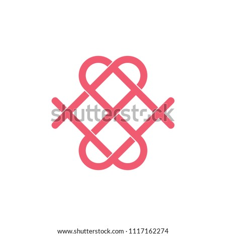 Abstract Letters Ns Love Symbol Logo Stock Vector Royalty Free