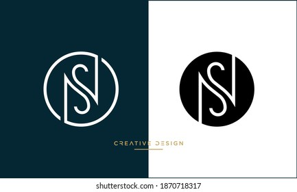 Abstract Letters NS, SN Logo Emblem Monogram Vector Template