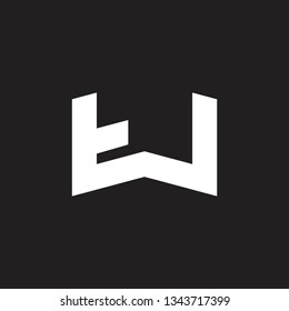 abstract letters tw simple geometric logo vector