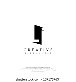 abstract LI logo letter in shadow shape design concept