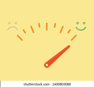 Abstract life happiness meter illustration with sad and happy smile and arrow. Idea - happiness-o-meter, feeling test, moods, sadness and depression, relationships, life quality etc.