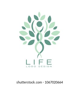 Abstract life logo design with green leaves and human silhouette. Healthy lifestyle theme. Flat vector emblem for medical care or wellness center