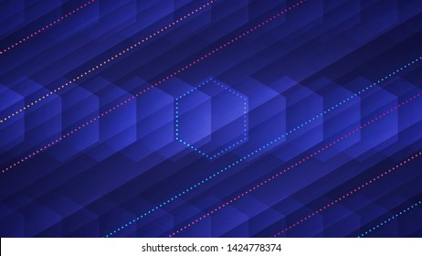 Abstract light background. Vector illustration of transparent hexagons and glowing neon colored dotted lines over blue background