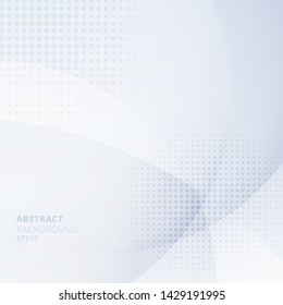 Abstract light blue circles overlapping with halftone on white background. Geometric template design use for cover brochure, poster, banner web, leaflet, flyer, etc. Vector illustration