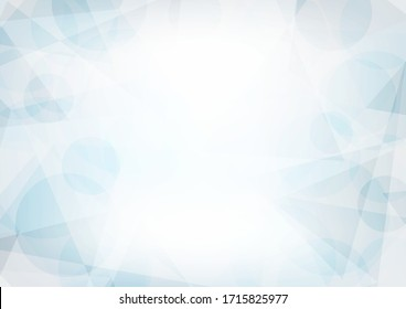 Abstract light blue and gray background textured by chaotic circles and triangles. Geometric vector pattern