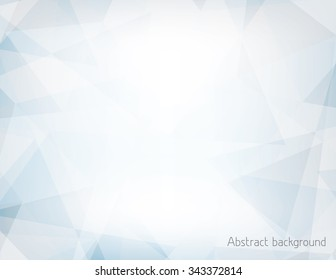 Abstract light blue and gray horizontal background textured by chaotic triangles. Geometrical vector pattern. CMYK color mode