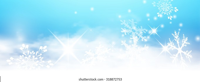 Abstract Light Blue, Turquoise - Winter Panorama Background - with Snowflakes and Starlets. Cold and Foggy Backdrop with Soft Highlights and Snow Flakes Banner.