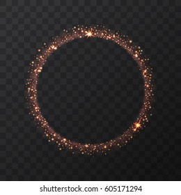 Abstract light bronze vector circle on transparent background.   Round shining glitter circular light frame  Beautiful abstract warm golden luxury light ring of stars, Eclipse. Vector illustration.