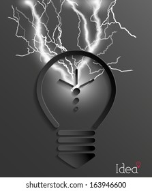 Abstract light bulb with lighting bolt background. 3d paper design. Vector eps10.
