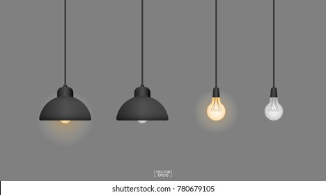 Abstract light bulb set with gray background. Hang ceiling cone lamp for interior design and decoration. Image idea for thinking concept. Vector illustration.