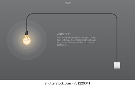 Abstract light bulb and light switch on gray background. Lamp and switch with area for text. Image idea for interior design and decoration. Vector illustration.