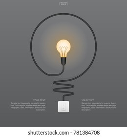Abstract light bulb and light switch on gray background. Lamp and switch. Vector illustration.