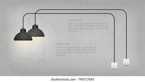 Abstract light bulb and light switch on concrete wall background. Lamp and switch with area for text. Vector illustration.