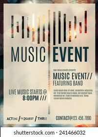 Abstract light effect flyer template layout for a live music event