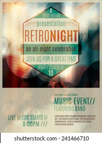 Abstract light effect flyer template layout with retro style badge advertising a live music event