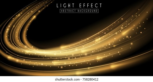 Abstract light effect. Futuristic gold wave illustration.  Festive sparkling background.