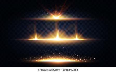 Abstract light effect and lens flare collection. Glowing stars. and sparkles on transparent background. Shining borders.