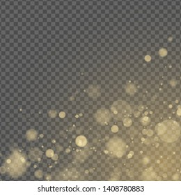 Abstract light effect. Yellow bokeh isolated on transparent background. Golden glow. Golden glitters. Random blurry spots. Vector illustration EPS 10