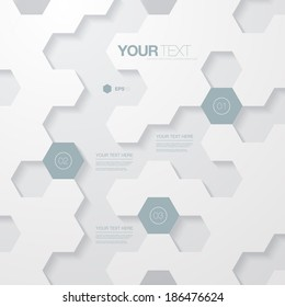Abstract light futuristic hexagon shape infographic design template for your business presentation with text and numbers  Eps 10 stock vector illustration