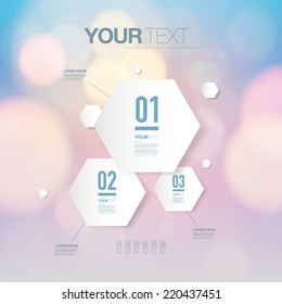 Abstract light futuristic hexagon shape infographic design template for your business presentation with text and numbers.  Eps 10 stock vector illustration