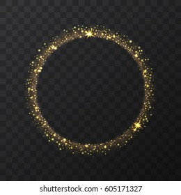 Abstract light gold vector circle on transparent background.   Round shining glitter circular light frame  Beautiful abstract golden luxury light ring of stars, Eclipse. Vector illustration.