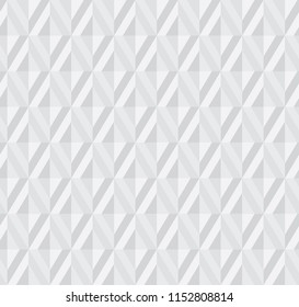 Abstract light gray 3d effect polygon geometry seamless pattern with rhombus tile. Embossing illusion repeatable geometric motif for header, poster, background.