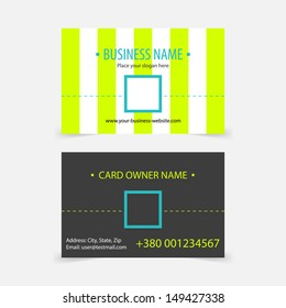 Abstract light green stripes business cards. Vector business card design template.