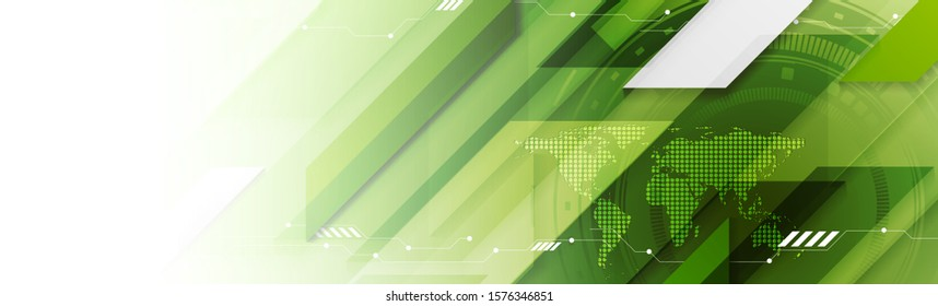 Abstract light green technology web header banner. Vector geometric background design with HUD gear and world map. Futuristic illustration