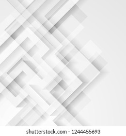 Abstract light grey technology geometric concept background. Vector design
