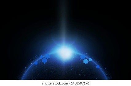 Abstract Light out technology background Hitech communication concept innovation send for planet earth with sunrise and technology network.