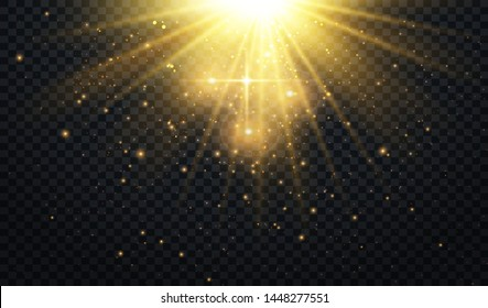 Abstract Light Overlay Effect on Transparent Background. Sparkles. Golden Sun Rays.  Vector Illustration