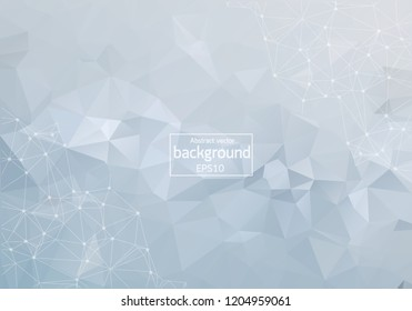 Abstract Light Polygonal Space Background with Connecting Dots and Lines. Geometric Polygonal background molecule and communication. Concept of science, chemistry, biology, medicine, technology.