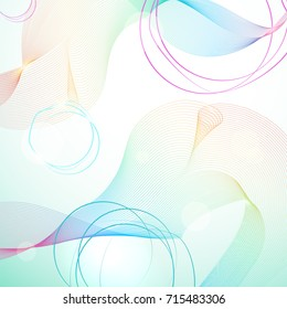 Abstract light rainbow guilloche background with shining bokeh