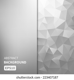 Abstract light silver vector background with triangles EPS10