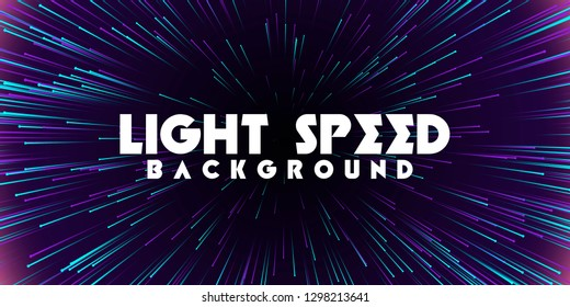 Abstract light speed background. Explosion of light. Stars and space warp. Colored rays in motion. Vector illustration.
