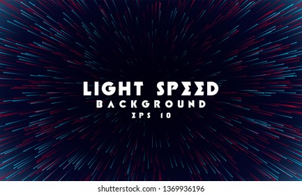 Abstract light speed background. Explosion of light. Stars and space warp. Speed lines, way. Colored rays in motion. Vector illustration.