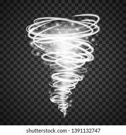 Abstract light vortex tornado magical illumination . Effect of whirlwind or hurricane. Vector illustration isolated on transparent background
