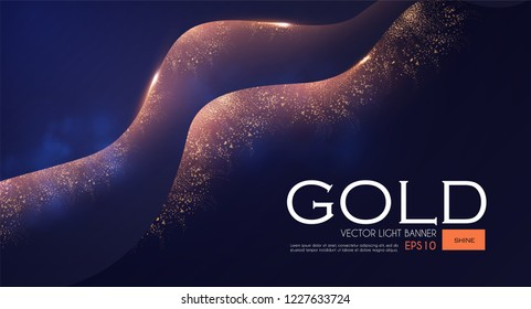 Abstract Light Waves Background with Gold Glitter Effect. Vector illusratration