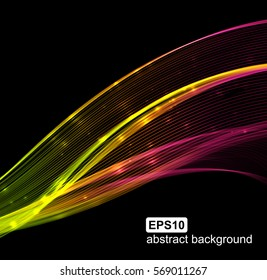 Abstract light wavy futuristic background. Vector illustration