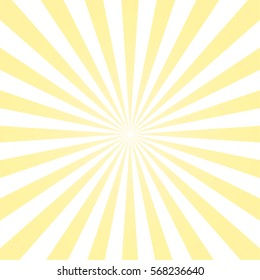 Abstract light yellow sun rays background. Vector.