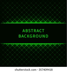 Abstract lights green forms on dark background