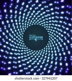 Abstract Lights Tunnel. Retro Party Concept. Vector illustration.