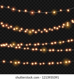 Abstract Ligth Bulb Garland on Transparent Background Vector Illustration EPS10