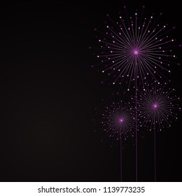Abstract lilac dandelion from lines and dots on a black background. Vector illustration.